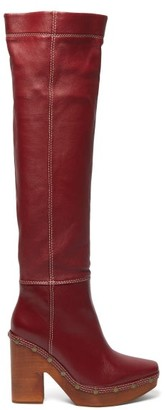 Jacquemus Sabots Leather Over-the-knee Boots - Womens - Burgundy