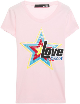 Love Moschino Sequin-embellished Printed Stretch-cotton Jersey T-shirt