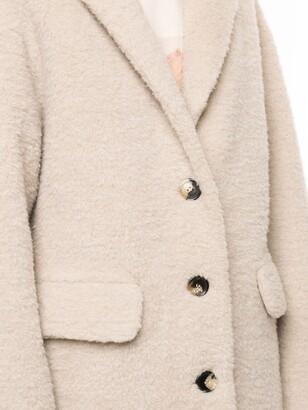 GOEN.J Single-Breasted Faux-Shearling Coat