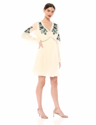 Cupcakes And Cashmere Women's Lynsey Chiffon Peasant Dress with Floral Embroidery