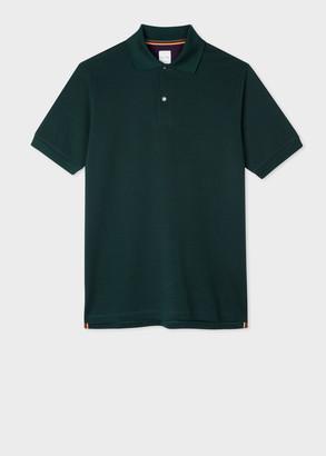 Paul Smith Men's Dark Green Cotton-Pique Polo Shirt With Charm Buttons