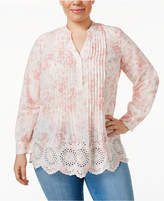 Style&Co. Style & Co Plus Size Plus Size Cotton Printed Eyelet-Hem Top, Only at Macy's
