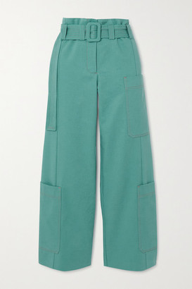 Stine Goya Roman Belted Organic Cotton-twill Straight-leg Pants - Light blue