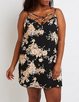 Charlotte Russe Plus Size Floral Lattice Shift Dress