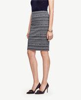 Ann Taylor Curvy Striped Tweed Pencil Skirt