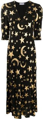 Rixo Star-Print Midi Dress