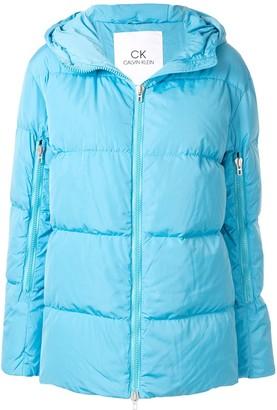 CK Calvin Klein oversized hooded puffer jacket