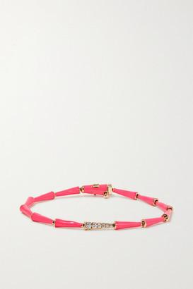 Melissa Kaye Lola 18-karat Rose Gold, Diamond And Enamel Bracelet