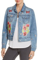 Bagatelle Studded Floral Patch Denim Jacket