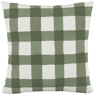 One Kings Lane Buffalo Check Cotton Pillow - Green