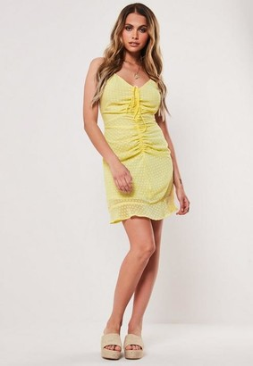 Missguided Yellow Dobby Ruched Front Mini Dress