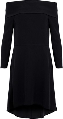 Theory Kensington Off-the-shoulder Crepe Mini Dress