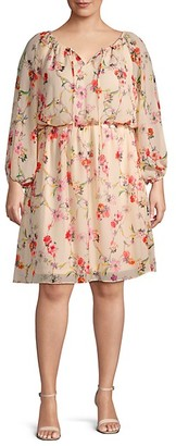 Adrianna Papell Plus Floral Long-Sleeve Blouson Dress