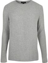 River Island MensLight grey plain knitted sweater