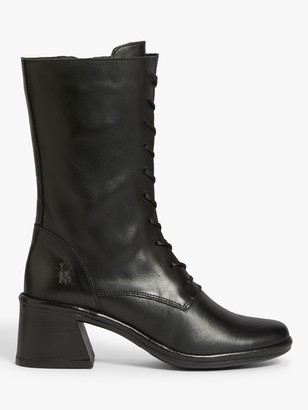 Fly London Luke Block Heel Lace Up Boots, Black