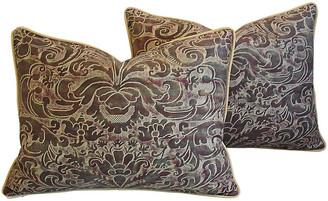 One Kings Lane Vintage Italian Fortuny Caravaggio Pillows - Set of 2 - plum/peacock/beige/gold/multi