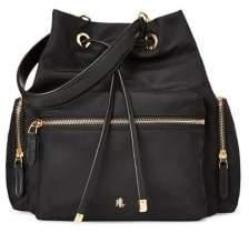 Lauren Ralph Lauren Leather-Trim Nylon Drawstring Bag