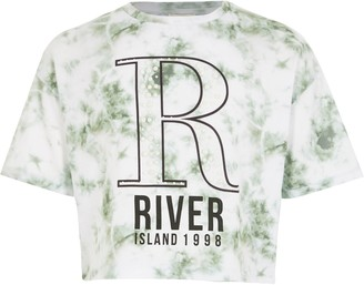 River Island Girls White tie dye R embellished T-shirt