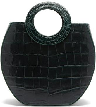 STAUD Frida Crocodile-embossed Leather Tote Bag - Womens - Dark Green