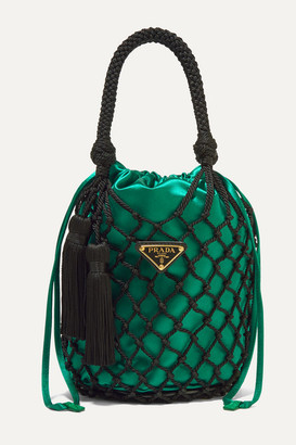 Prada String Small Tasseled Satin And Macrame Tote - Emerald