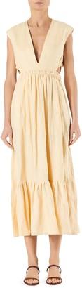 Tibi Linen V-Neck Cutout Midi Dress