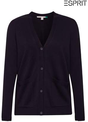Esprit Womens Blue Cardigan With Organic Cotton - Blue