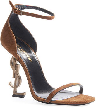Saint Laurent Opyum Suede Logo-Heel Sandals