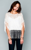 MUMU Madison Fringe Top ~ Leafy Luxe White
