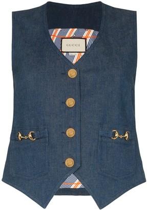 Gucci Horesbit denim waistcoat