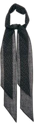 Saint Laurent Crystal-embellished Opaque-wool Scarf - Black White
