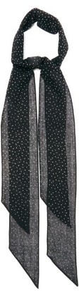 Saint Laurent Crystal-embellished Opaque-wool Scarf - Womens - Black White