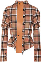 Loewe Leather-trimmed Checked Wool-blend Peplum Jacket - Tan