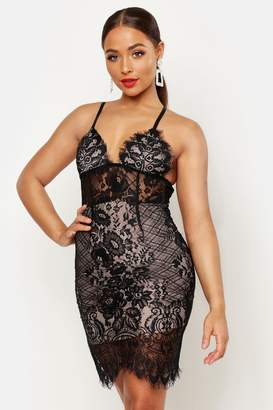 boohoo Lace Bodice Bodycon Mini Dress