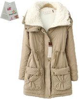 Donalworld Women Warm Cotton Coat Thick Hooded Jacket Asian Size M