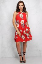 Rare Red Floral Ruffle Dress