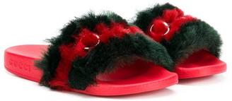 Gucci Kids Faux Fur Slides