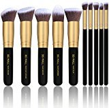 BS-MALL(TM) Makeup Brushes Premium Makeup Brush Set Synthetic Kabuki Cosmetics Foundation Blending Blush Eyeliner Face Powder Brush Makeup Brush Kit (10pcs, Golden Black)