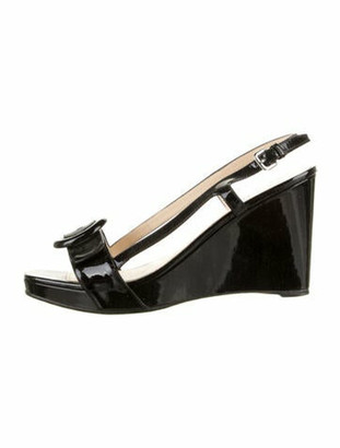 Prada Patent Leather Slingback Sandals Black