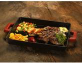 Lava ECO 10-1/4 in. x 15-1/2 in. Enameled Cast Iron Combination Grill and Griddle Pan in Slate Black