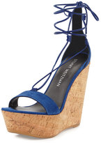 Stuart Weitzman Wrap It Suede Lace-Up Wedge Sandal, Sapphire