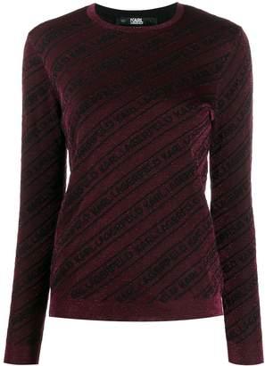 Karl Lagerfeld Paris diagonal logo stripe jumper