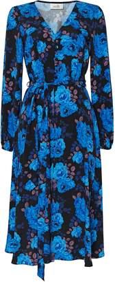 Wallis PETITE Blue Rose Print Midi Dress