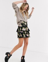 Asos DESIGN tiered ruffle mini skirt in floral print