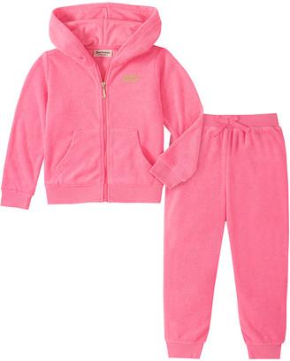 Juicy Couture Girls' Casual Pants 2005 - Pink 'Juicy' Zip-Up Hoodie & Pink Joggers - Infant & Girls