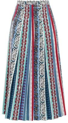 Le Sirenuse Le Sirenuse, Positano - Greta Girandola Graphic-print Pleated Cotton Skirt - Womens - Blue Print