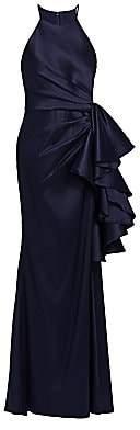 Badgley Mischka Women's Halter Ruffle Knot Dress - Size 0