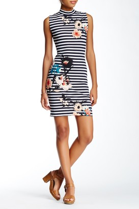 French Connection Sleeveless Mock Neck Stripe & Floral Knit Dress