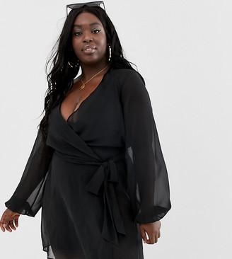 Asos DESIGN Curve recycled long sleeve wrap tie chiffon beach kimono in black