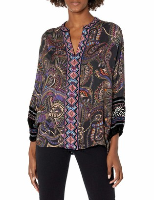 3J Workshop by Johnny was Women's Printed Rayon Blouse with Velvet Detail