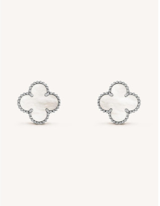 Van Cleef & Arpels Women's White Gold Vintage Alhambra And Mother-Of-Pearl Earrings
